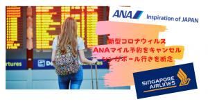 【新型コロナウィルス肺炎】ANAで取ったシンガポール行き国際線特典航空券のキャンセルは無料でできる!